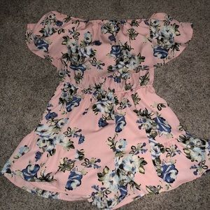 Pink off the shoulder romper with blue flowers